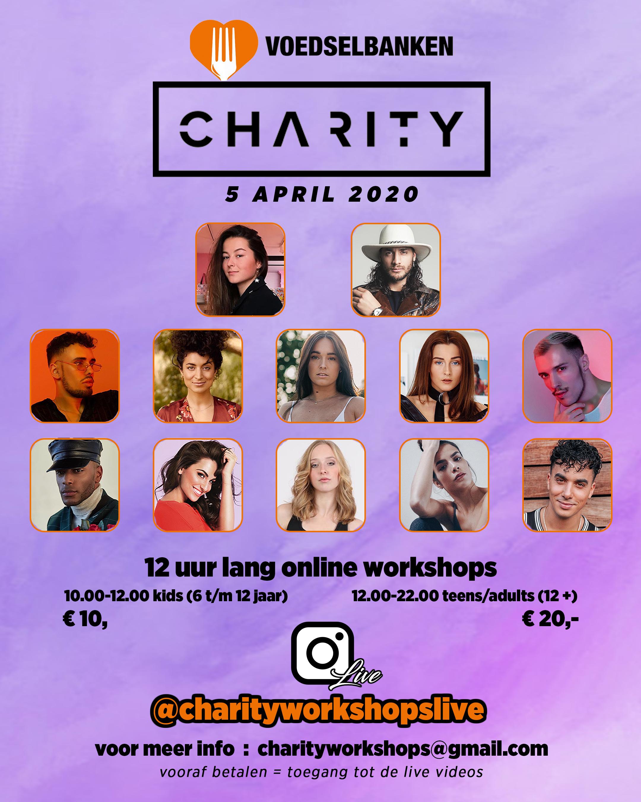 charity workshop, goede doel, dansles, choreografen, danslessen, goede doelen