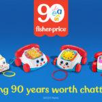 Fisher price, kleurrijk, speelgoed, 90 jaar