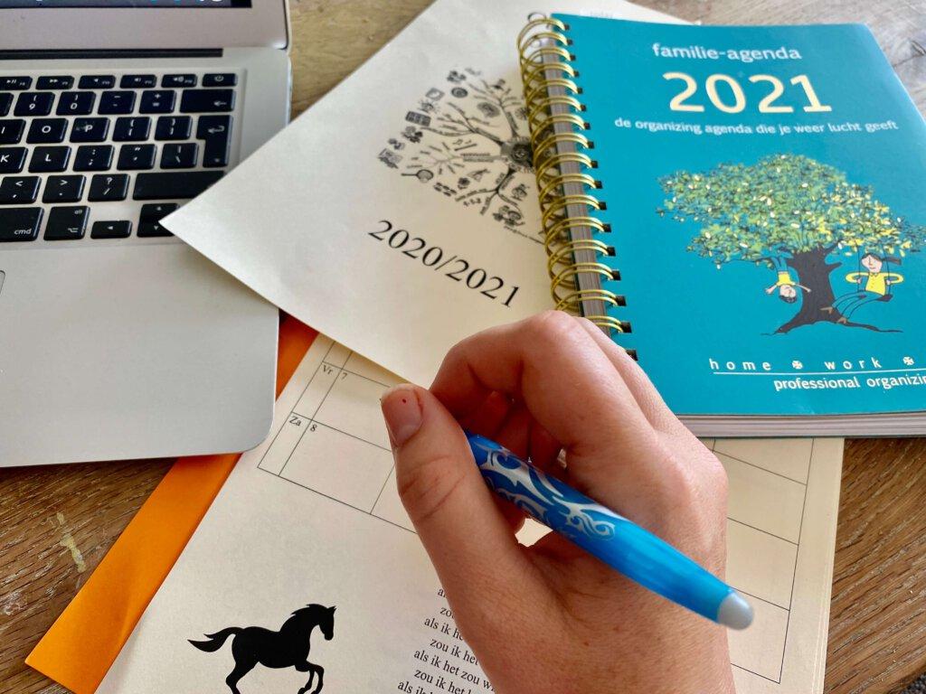 agenda, alleen, planning, 2020
