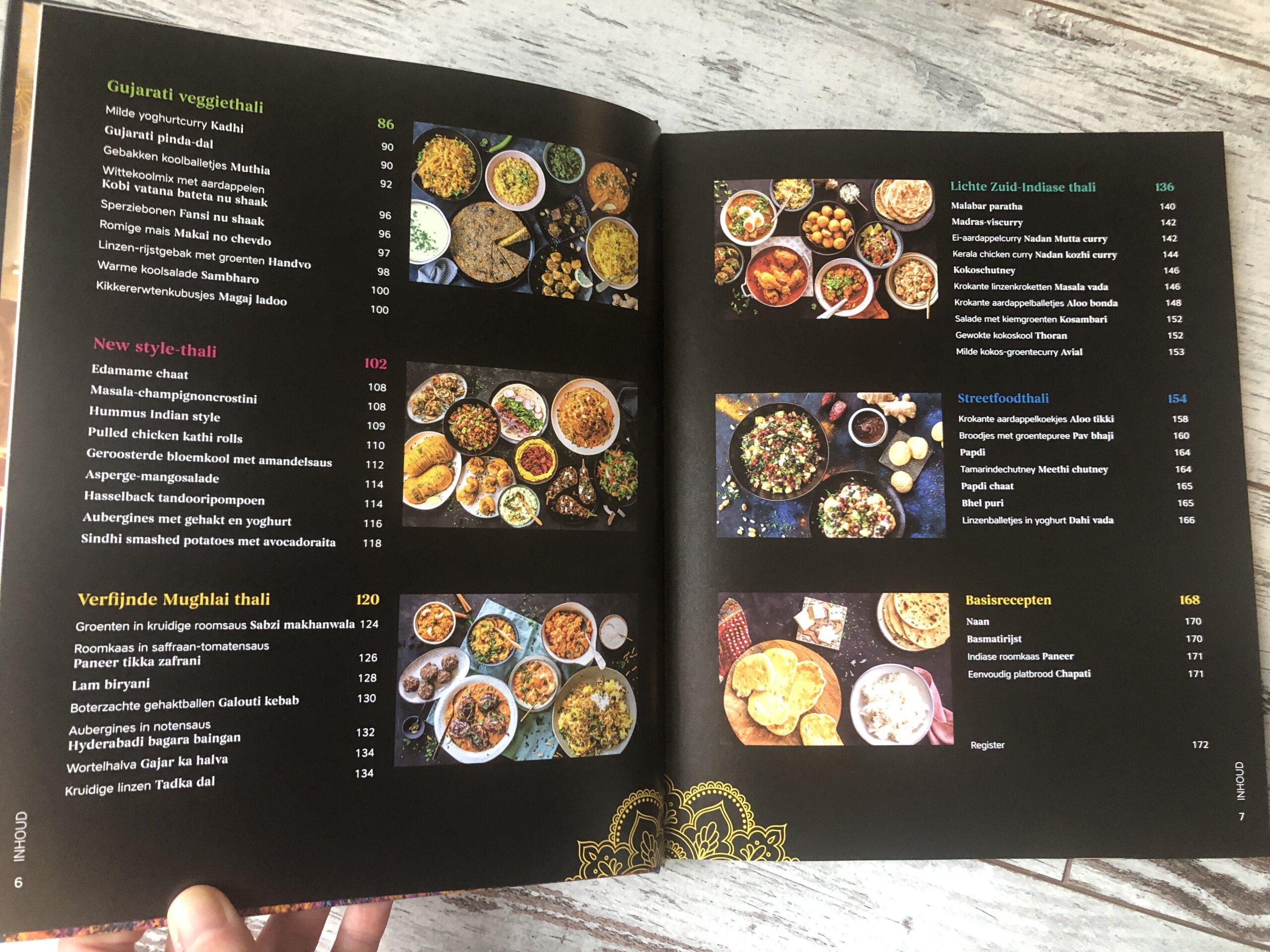 Inhoudsopgave kookboek Thali