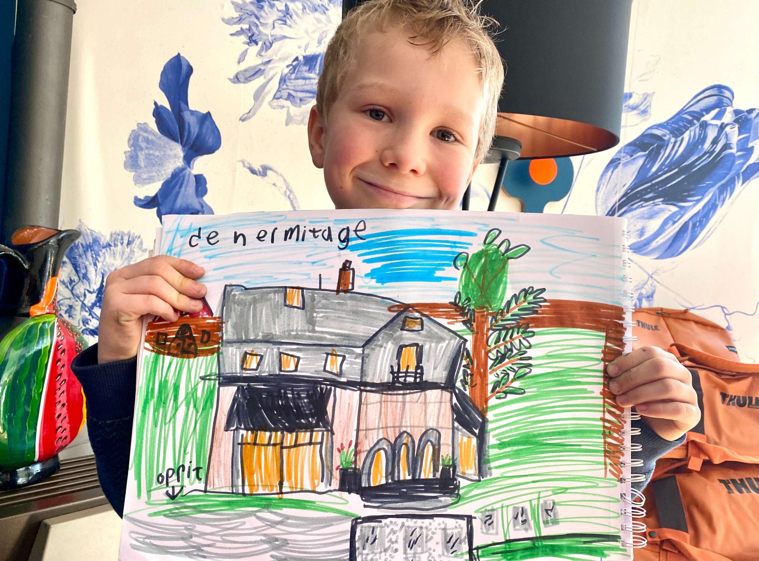 hermitage, verhuiskaart, verhuizen, apeldoorn, kindertekening